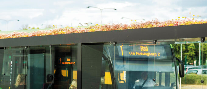 Green sustainable bus shelters with sedum roofs in Sweden