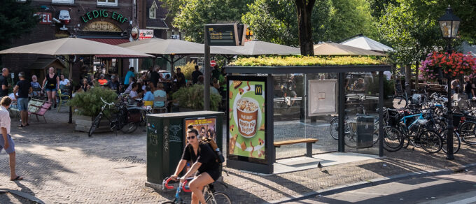 Mobilane MobiRoof Utrecht opts for eco bus shelters with green sedum roofs