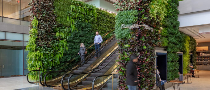 8500 plants surrounding the escalators in the lobby of the Huntington Centre in Ohio