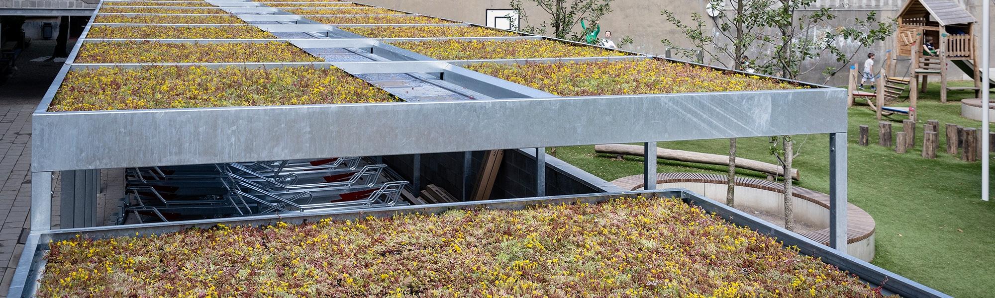 Mobilane Groene daken op Fietsoverkappingen