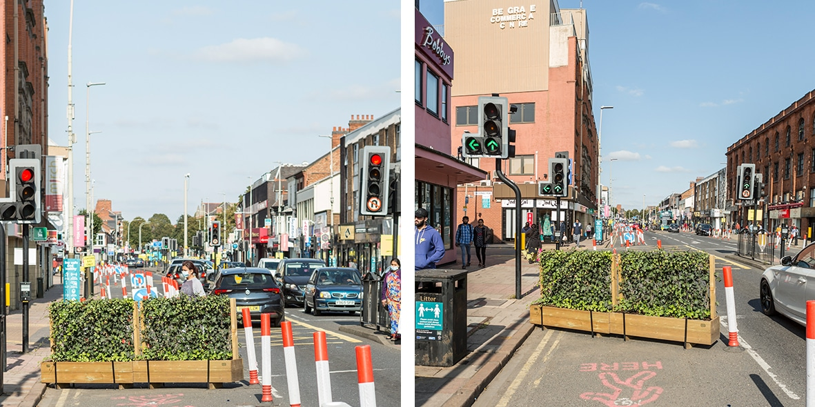 Ivy green screens add natural social distancing to Leicester City Centre